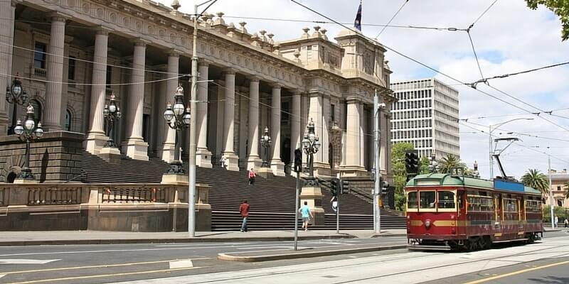 Trams running through Melbourne