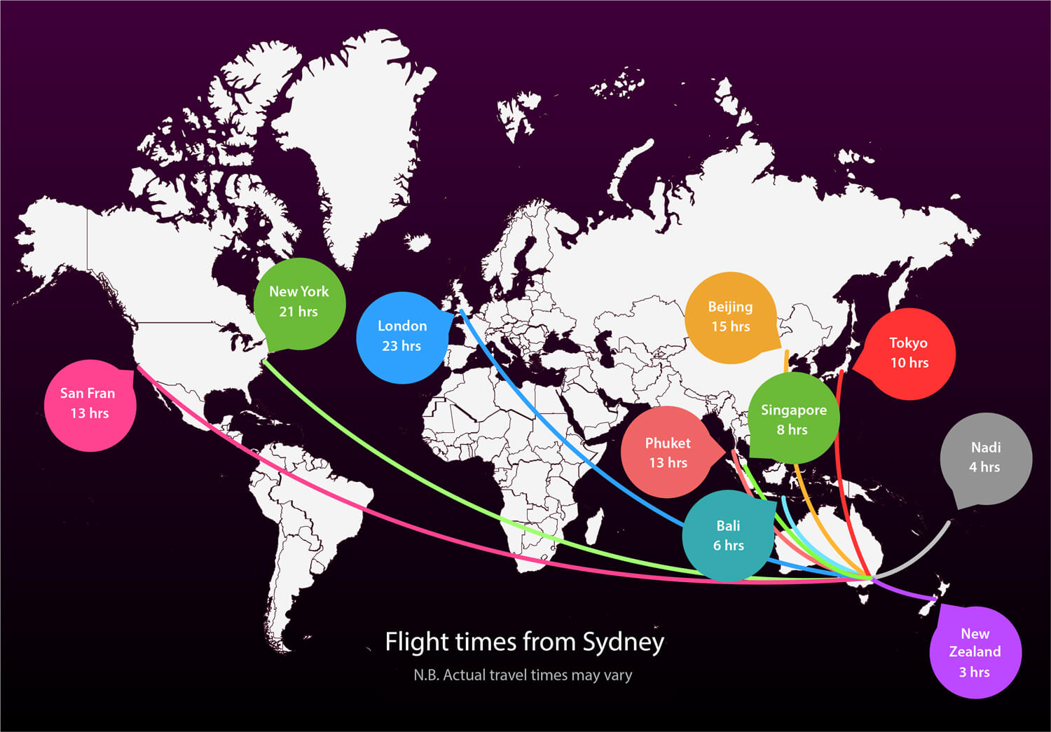 Flight times from Sydney on a map