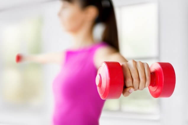 arms out lifting weights