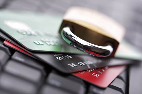 lock over credit cards and keyboard