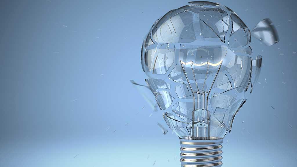 shattered light bulb