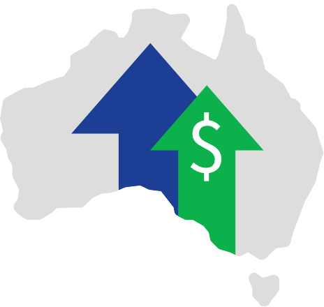 An image of Australia with arrows pointing upwards