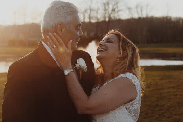 An established couple in wedding attire