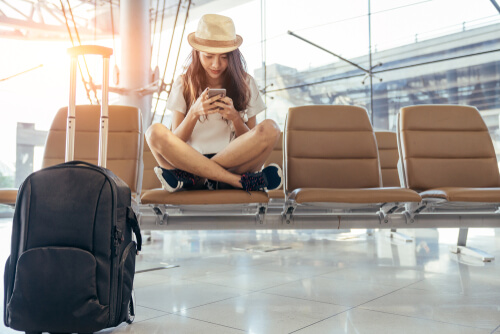 Woman waiting for plane