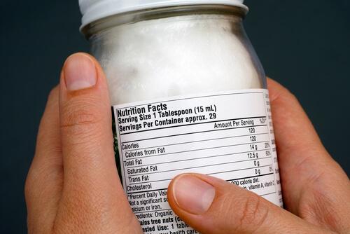 Coconut oil closeup label nutrition