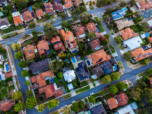 A helicopter shot of Australian suburbs