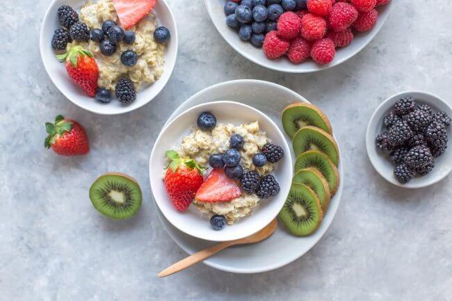 bowls of fruit and muesli
