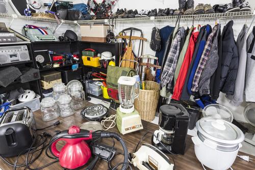 range of items in a garage sale