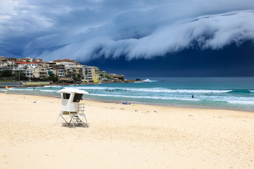 Large storm clouds rolling in over Bondi Beach
