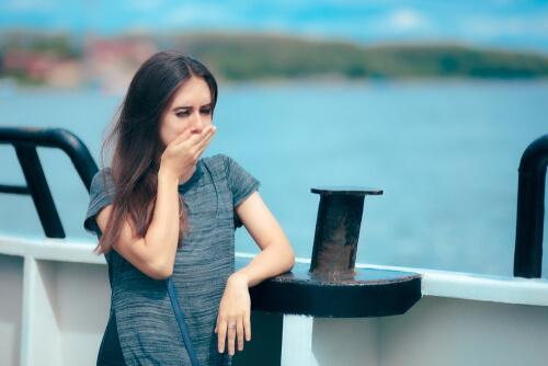 ill woman on ship