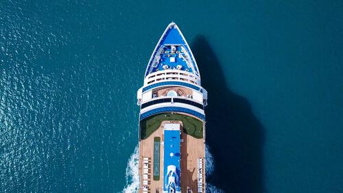 bird's eye view of cruise ship