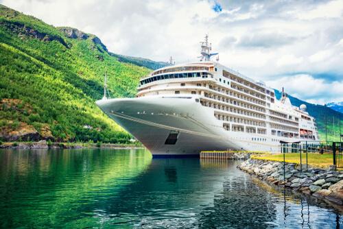 cruise ship docked at pier