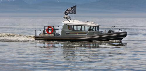 modern pirate ship on water