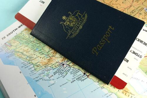 Australian passport on top of map