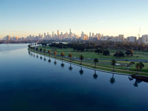 Albert Park lake in Melbourne