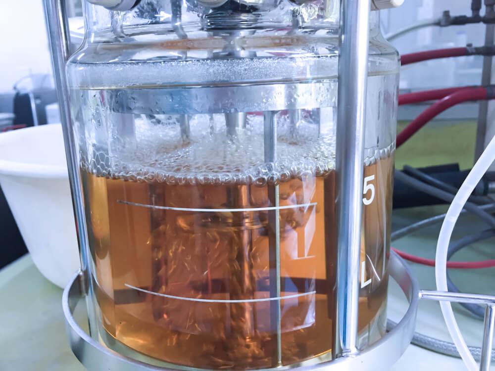 bio-ethanol undergoing production in a laboratory