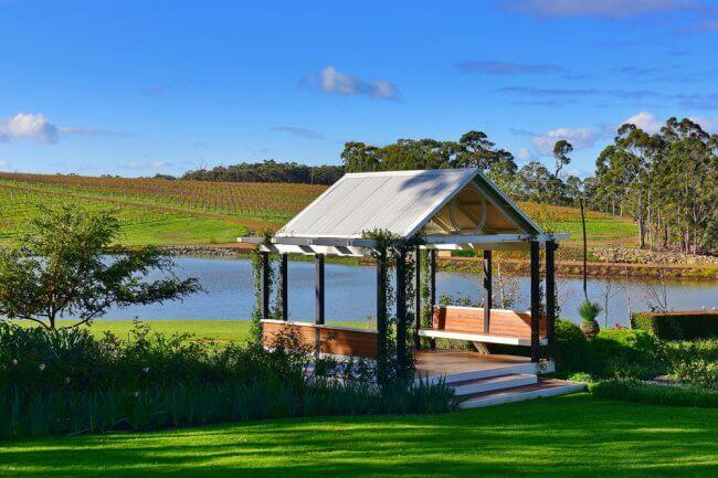 A pavillion in a vineyard