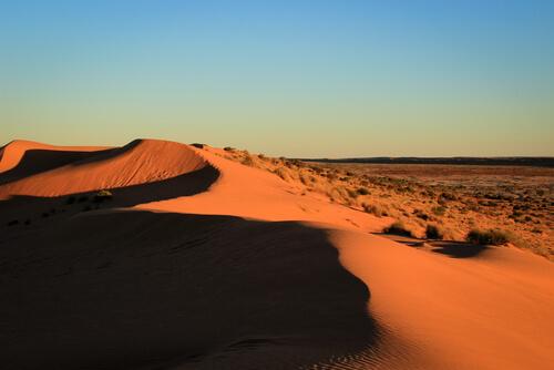 Simpson desert sand dunes at dusk