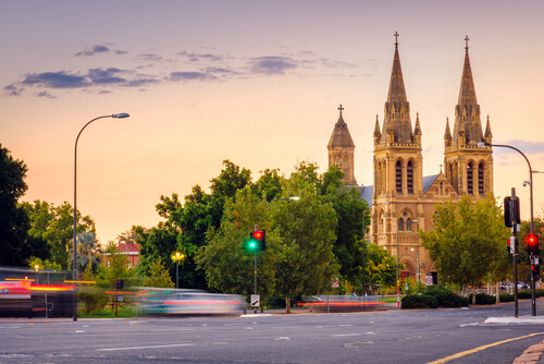 Traffic outside St Peter's Cathedral in Adelaide