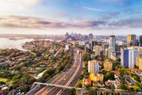 Aerial view of Sydney traffic