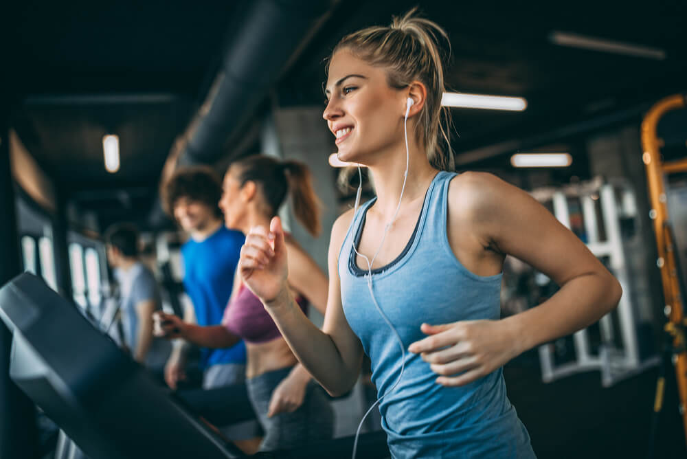 A gym with young people keeping fit and focusing on their health