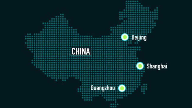 A map of China with Beijing, Shanghai and Guangzhou highlighted.