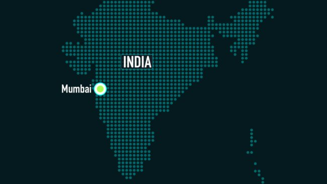 A map of India with Mumbai highlighted.