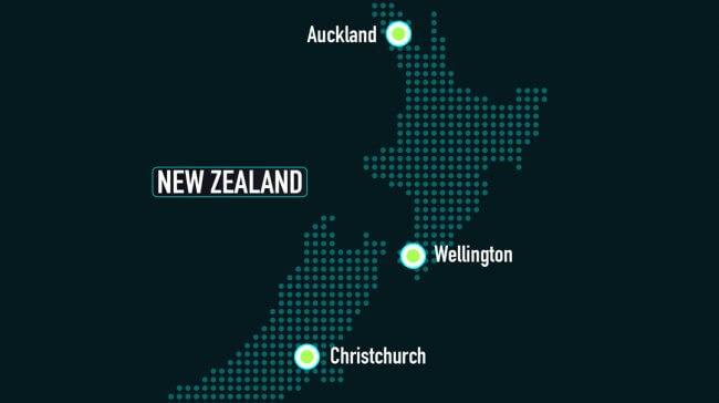 A map of New Zealand with Auckland, Wellington and Christchurch highlighted.