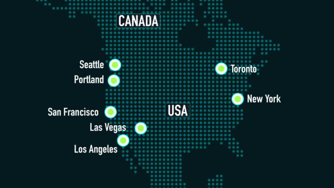 A map of North America with multiple cities highlighted.