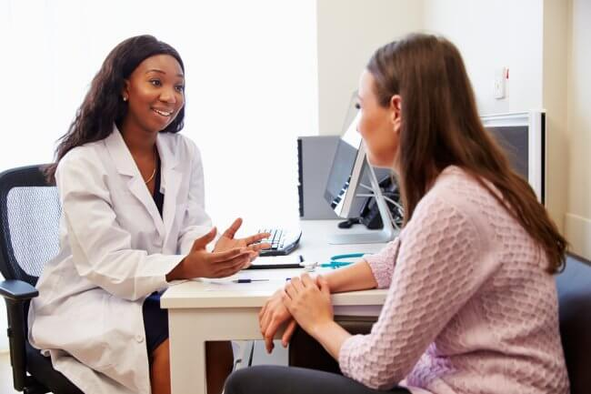 woman in an appointment with a female doctor