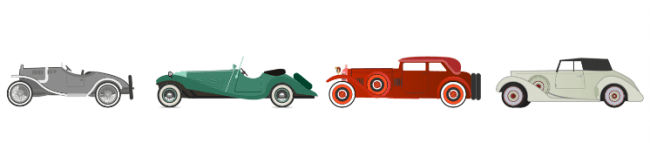 Car shapes throughout the 1920s and 1930s.