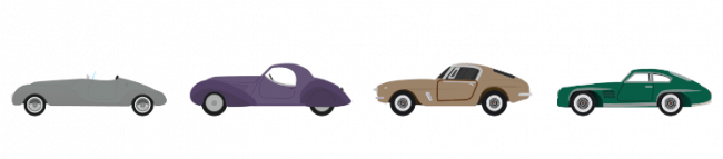 Car shapes throughout the 1940s and 1950s.