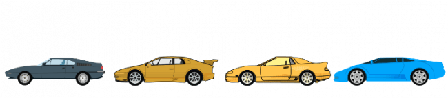 Car shapes throughout the 1980s and 1990s.