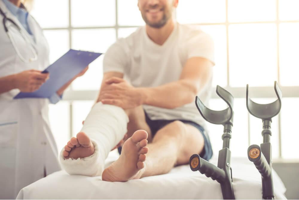 Man with a broken leg in hospital