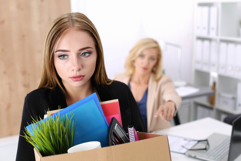 Woman getting let go from job