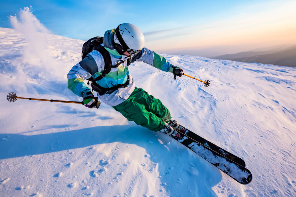 a man skiing downhill at a slope in Germany