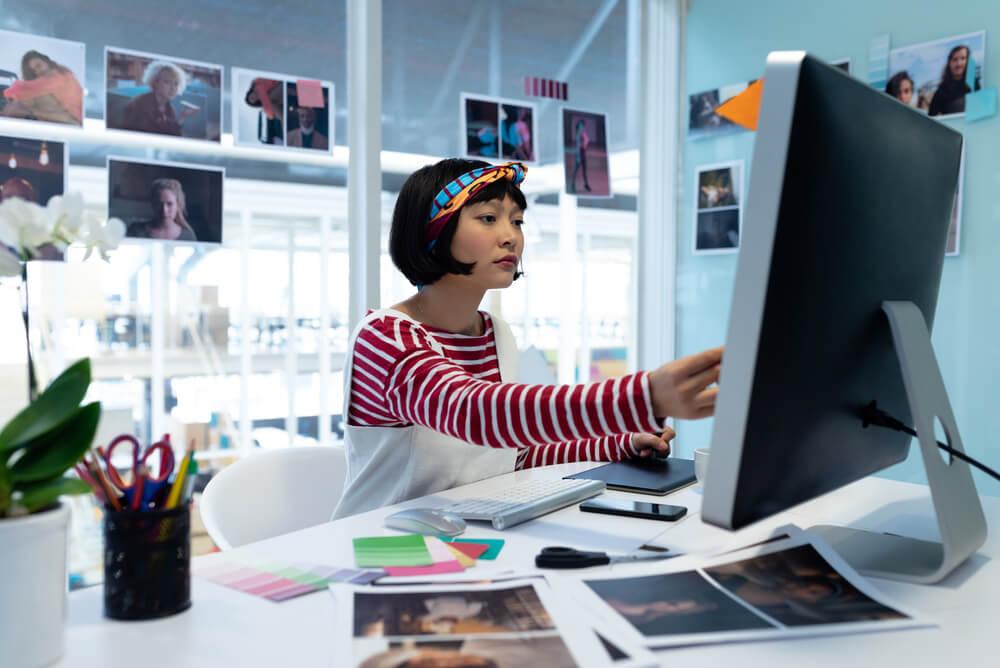 Artist working on computer