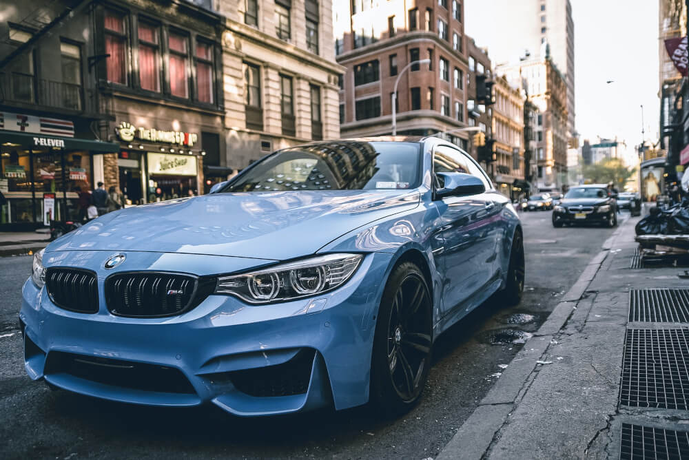 BMW parked in a city.