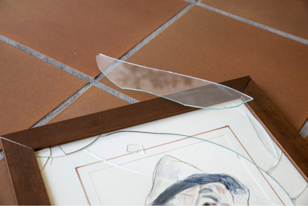 Damaged art at ransacked business