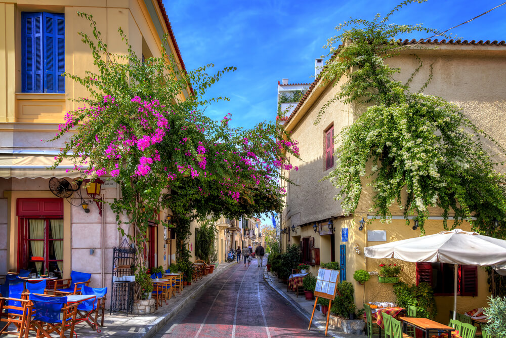 a narrow street in Plaka, Athens