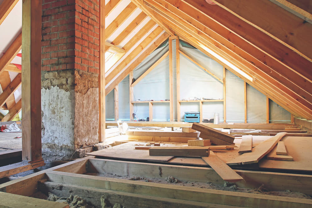 an attic being renovated
