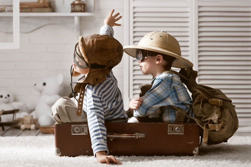 two brothers sitting in a suitcase