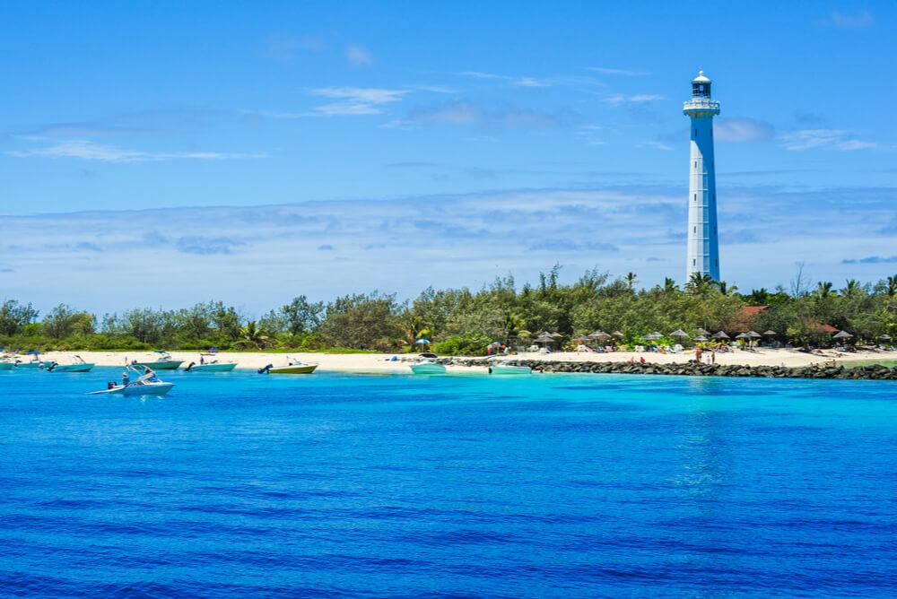 a wide view Amédée Lighthouse on Amédée Island, New Caledonia