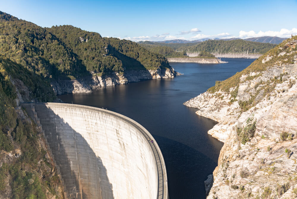 Aerial view of Gordon Dam in Tasmania