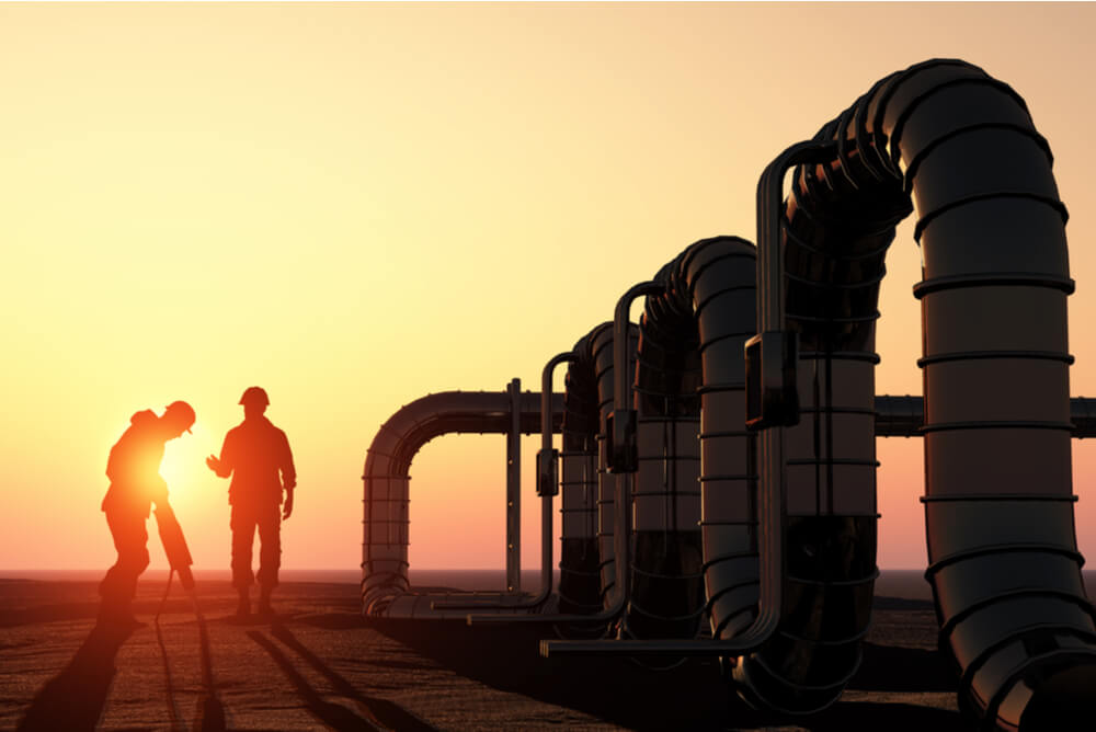 workers at a natural gas extraction site