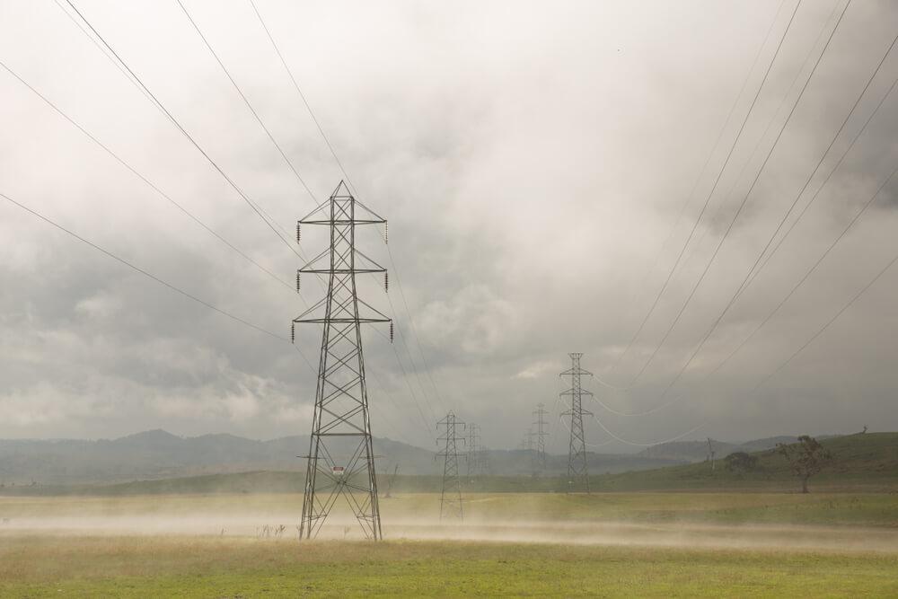 Tasmanian power poles in a rainy day