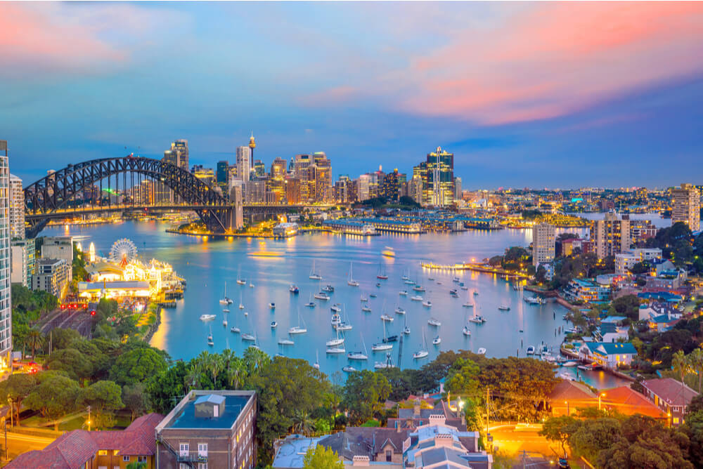view of Sydney Harbour at night