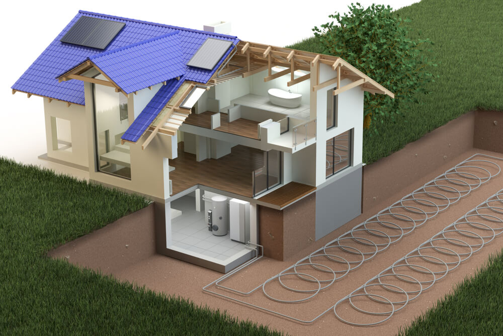 a 3D illustration of a home with a geothermal heat pump