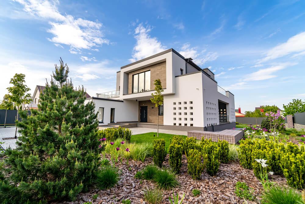 a modern brick and concrete home