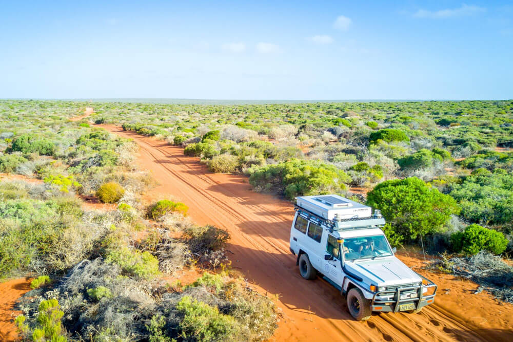 a white 4WD crossing the Outback